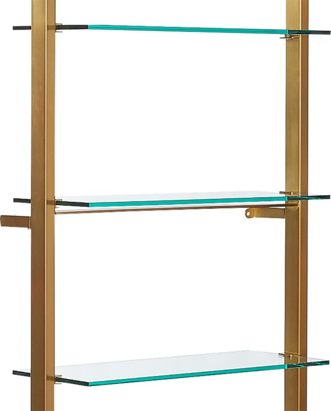 """Tesso Brushed Brass 84"""" Bookcase"""