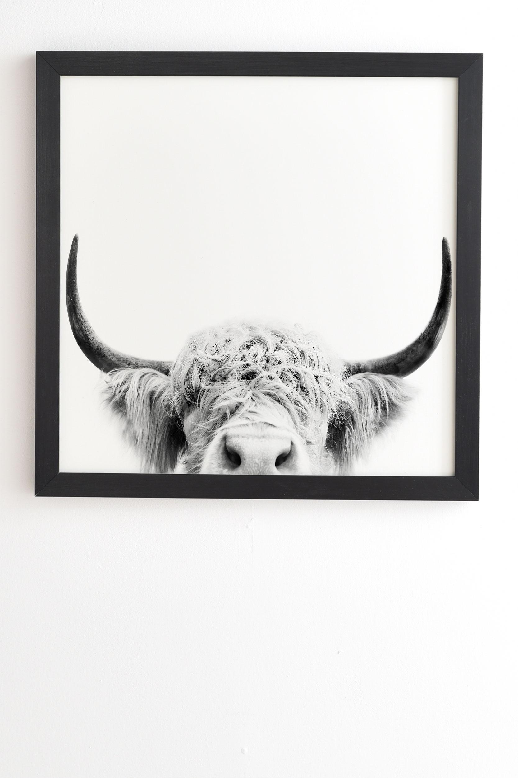 "Peeking Highland Cow by Sisi and Seb - Framed Wall Art Basic Black 20"" x 20"""