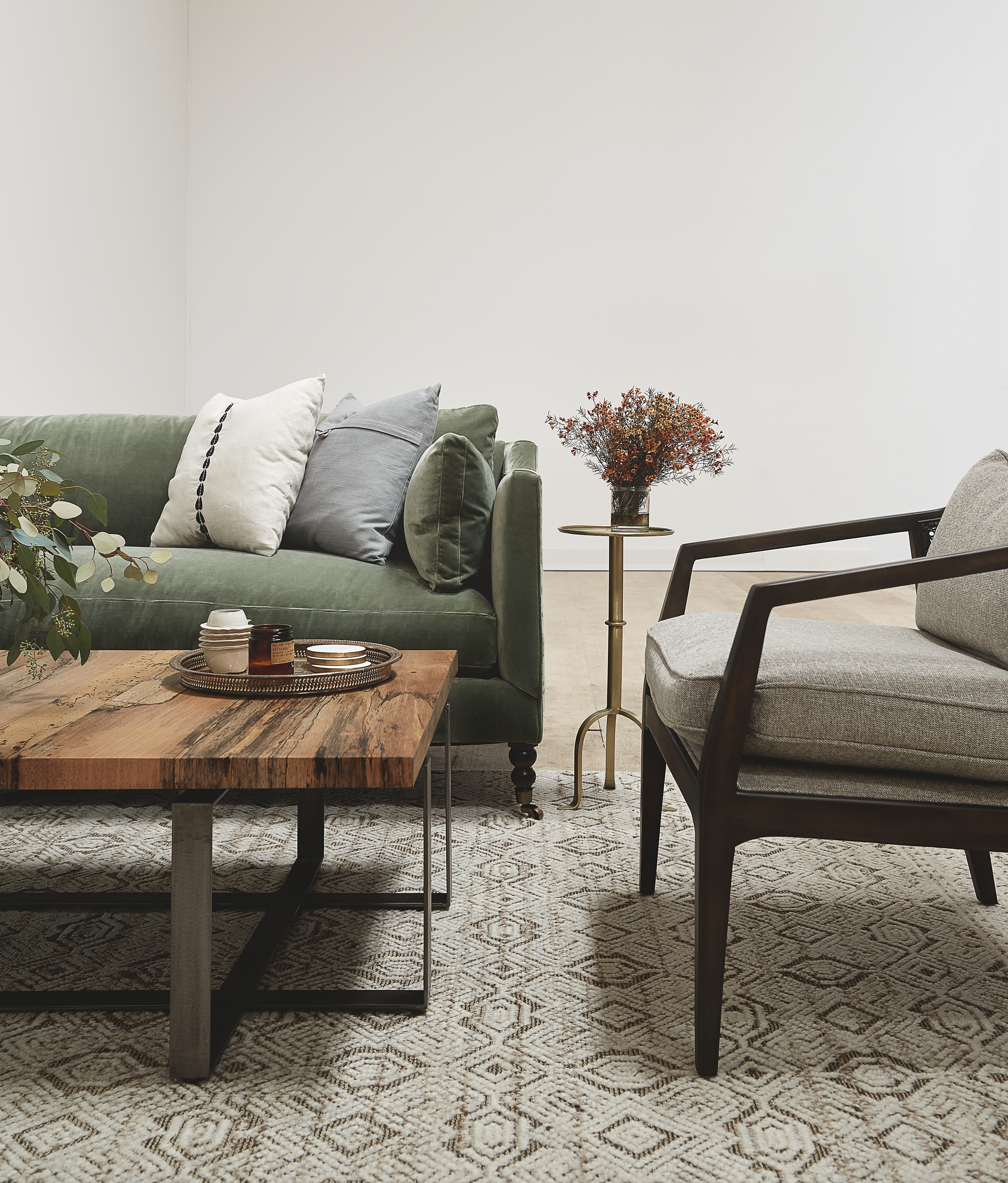 Fabienne Velvet Sofa, Moss