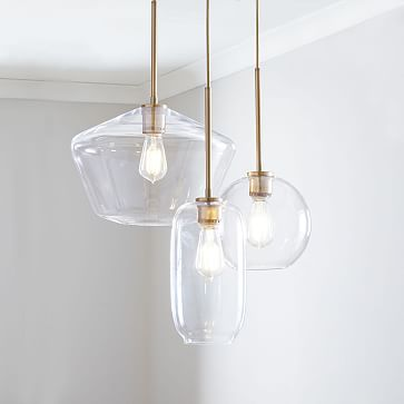 Sculptural Glass 3-Light Round Mixed Chandelier, S Globe,-M Pebble,-L Geo, Clear Shade, Brass Canopy
