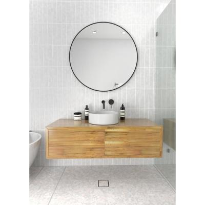 Glass Warehouse 36 in. x 36 in. Round Black Stainless Steel Framed Mirror