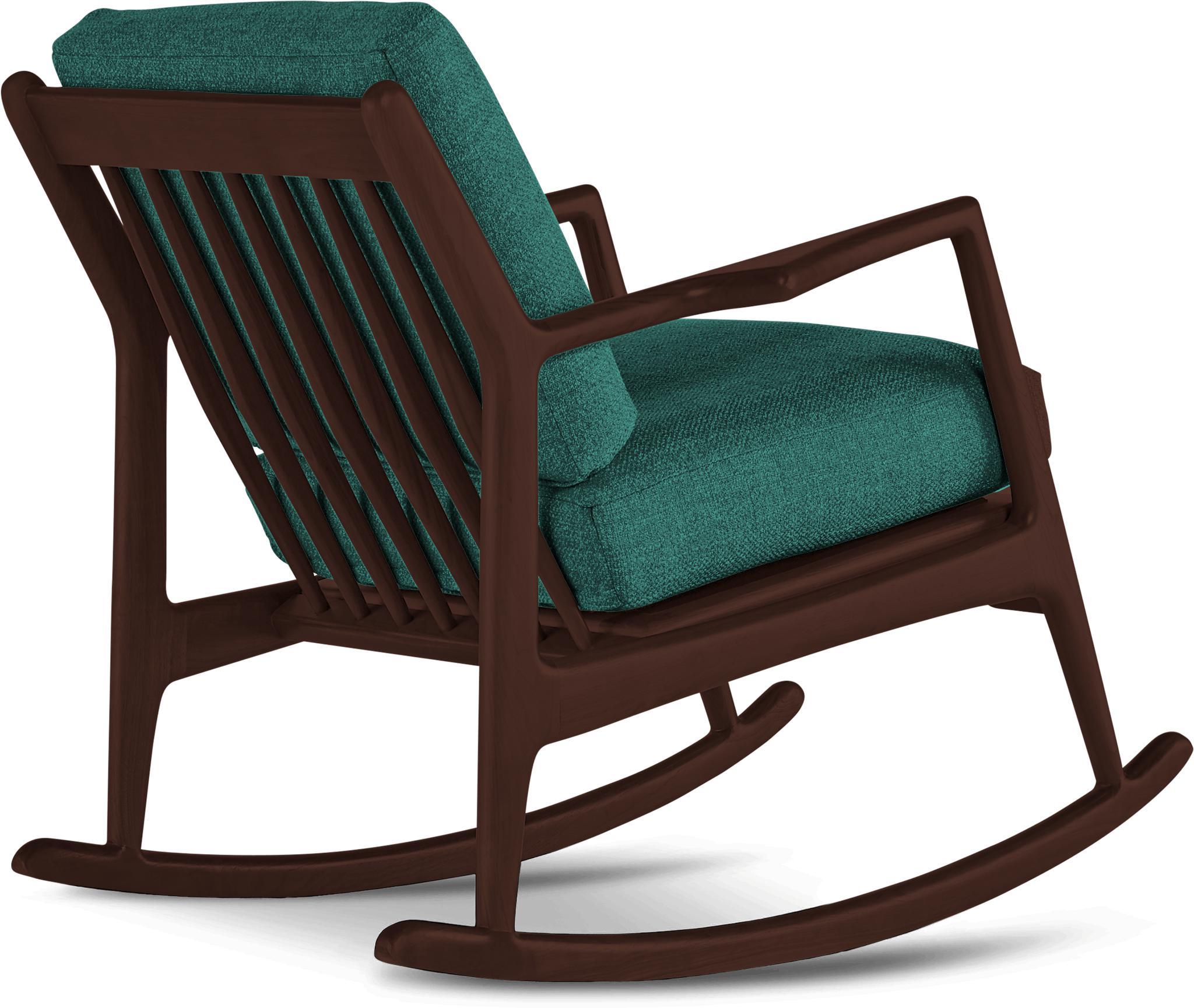 Blue Collins Mid Century Modern Rocking Chair - Prime Peacock - Walnut