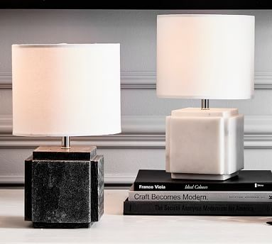 Amara Marble Table Lamp, Small, White