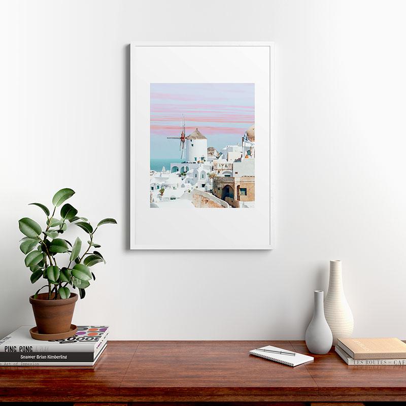 """Scenic Greece by 83 Oranges, Modern Framed Art Print, White, 24"""" x 36"""""""