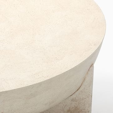 Monti Collection White Lava Stone 30 Inch Round Coffee Table