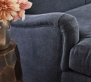 "Carlisle Upholstered Tight Back Sofa 80"", Polyester Wrapped Cushions, Sunbrella(R) Performance Chenille Indigo"