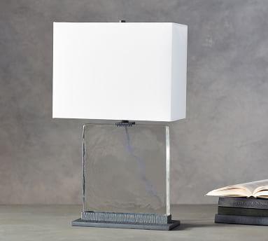 "Kellen Table Lamp with Rectangular Shade, Oxidized Bronze/Short, 15"""