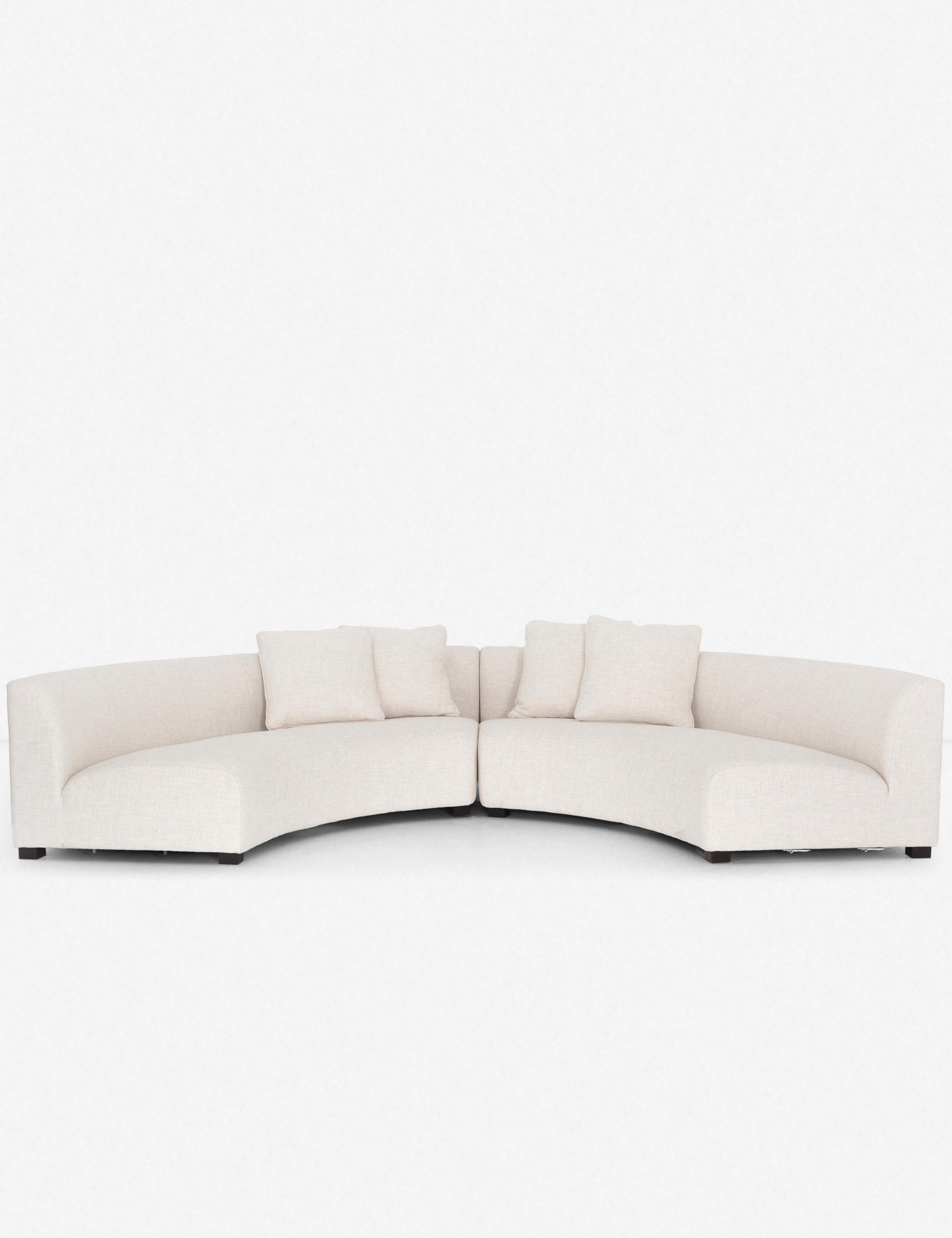 Saban 2-Piece Crescent Sectional Sofa, Ivory