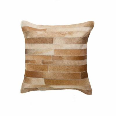 HomeRoots Josephine Brown Striped 18 in. x 18 in. Cowhide Throw Pillow