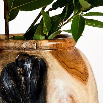 Polished Wooden Teak Vase