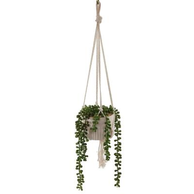 Flora Bunda 20 in. Artificial String of Pearls in Macrame Hanging Ceramic Planter