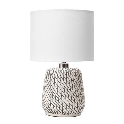 nuLOOM 25 in. Beige Hope Glass Indoor Table Lamp