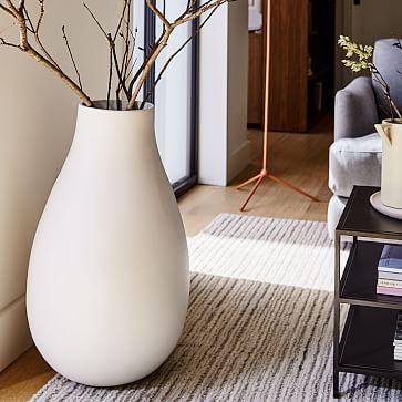 Pure White Ceramic Vase, Oversized Raindrop