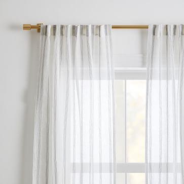 "Sheer Linen Cotton Mini Stripe Curtain, White & Slate, 48"" x 108"""