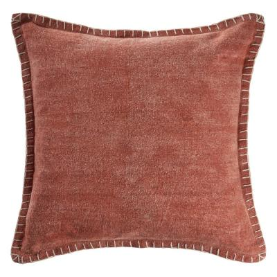 LR Home Aegean Clay Solid Color Embroidered Border Cozy Poly-fill 24 in. x 24 in. Throw Pillow