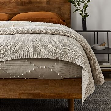 Cotton Knit Bed Blanket, King, Natural Flax