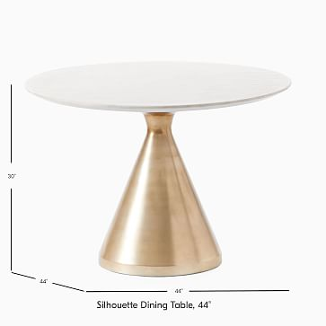 """Silhouette Pedestal Dining Table, Round, 44"""", Marble, Antique Brass"""