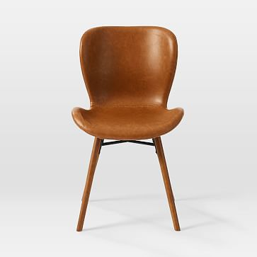Uma Faux Leather Dining Chair, Saddle Leather, Nut, Pecan