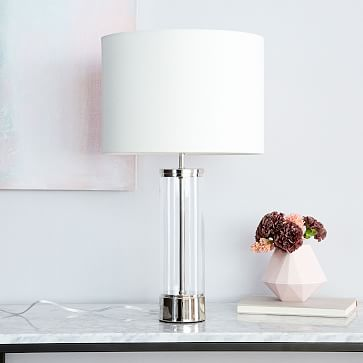 Acrylic Column Table Lamp + USB, Antique Brass