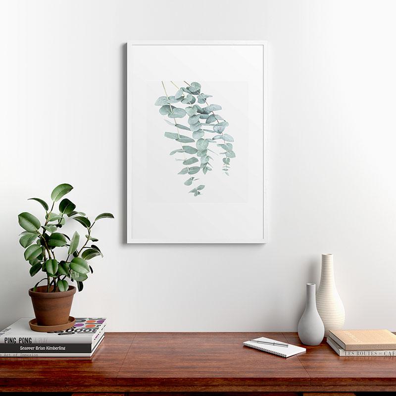 "Mint Eucalyptus Ii by Sisi and Seb, Modern Framed Art Print, White, 24"" x 36"""