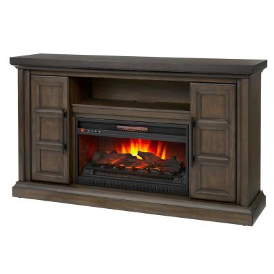 Home Decorators Collection Halwell 63 in. Media Console Infrared Electric Fireplace in Warm Brown with Espresso Top