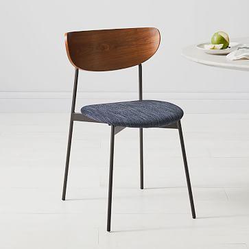 Mid Century Modern Petal Upholstered Dining Chair, Basket Slub, Platinum, Antique Bronze