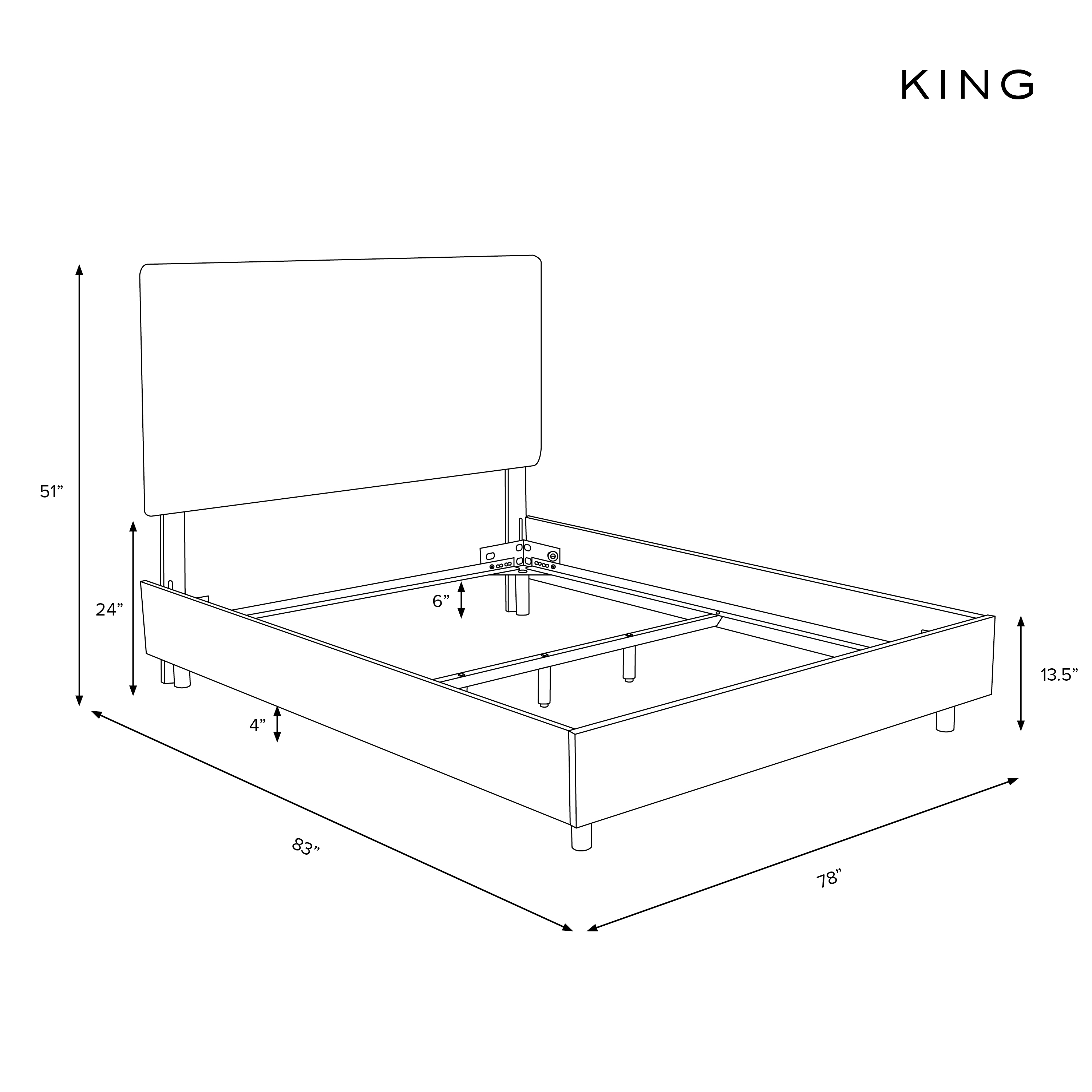 Amarise Linen Tufted Bed, Talc King