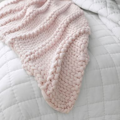 Super Chunky Knit Throw, 45X55, Powdered Blush