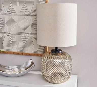 Rosalynn Glass Table Lamp, Brushed Steel