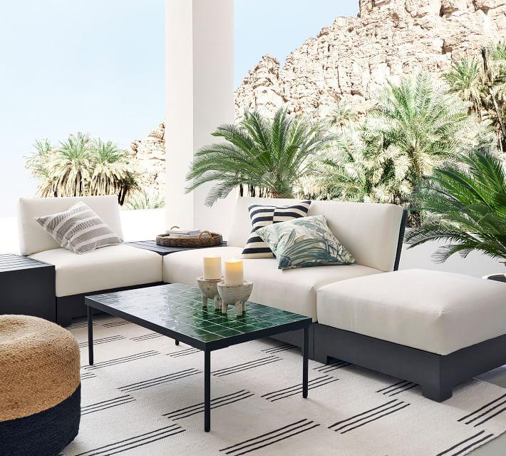 "Aviv Striped Indoor/Outdoor Pillow , 22"" x 22"", Black Multi"