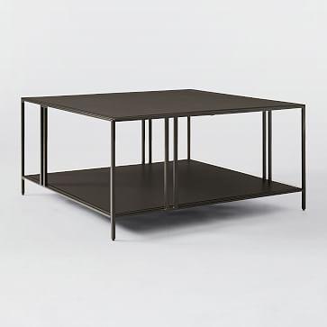 Profile Square Coffee Table, Metal, Antique Bronze