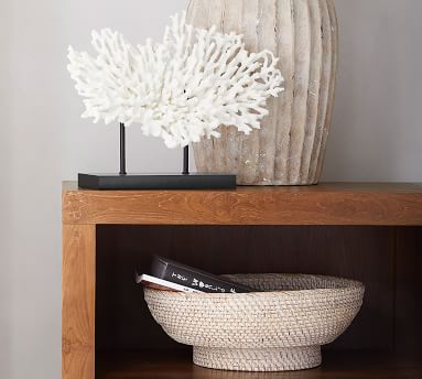 Faux Coral on Black Stand, White, Large
