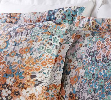 Multi Amelia Floral Organic Cotton Duvet Cover, Full/Queen