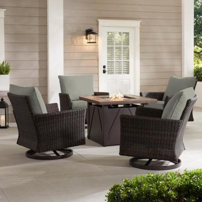 Hampton Bay Lakeline 5-Piece Brown Metal Outdoor Patio Fire Pit Swivel Seating Set with CushionGuard Stone Gray Cushions