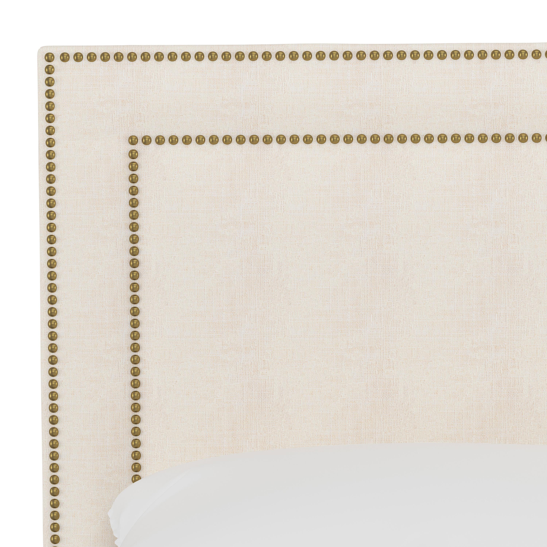Williams Bed, Full, White, Brass Nailheads