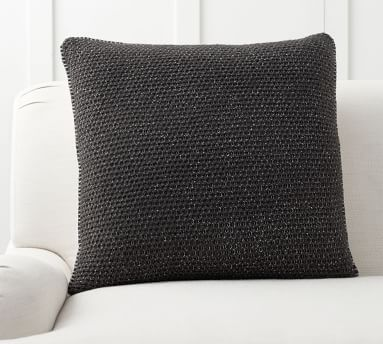 """Thermal Knit Sherpa Back Pillow Cover, 24"""", Heathered Charcoal"""