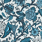 Lucinda Jacobean Teal Sunbrella Performance Fabric By The Yard   - Ballard Designs