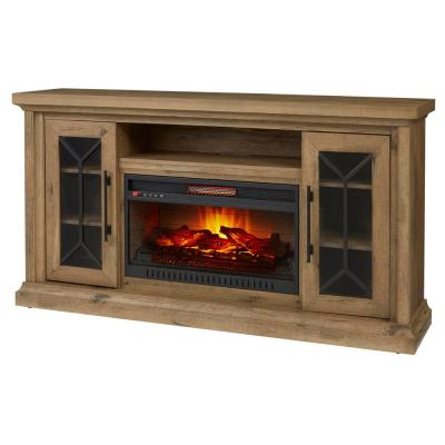Home Decorators Collection Madison 68 in. Media Console Infrared Electric Fireplace in Natural Rustic Oak