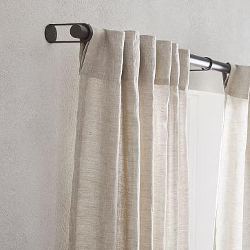"""Belgian Flax Linen + Luster Velvet Curtain, Natural + Dusty Blush 48""""x96"""""""