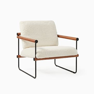 Ross Chair, Poly, Ivory, Sherpa, Black and Walnut