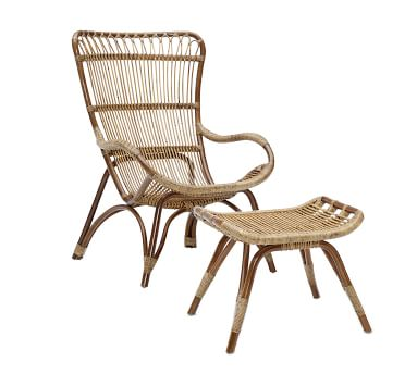 Monet Rattan Chair and Ottoman, Taupe