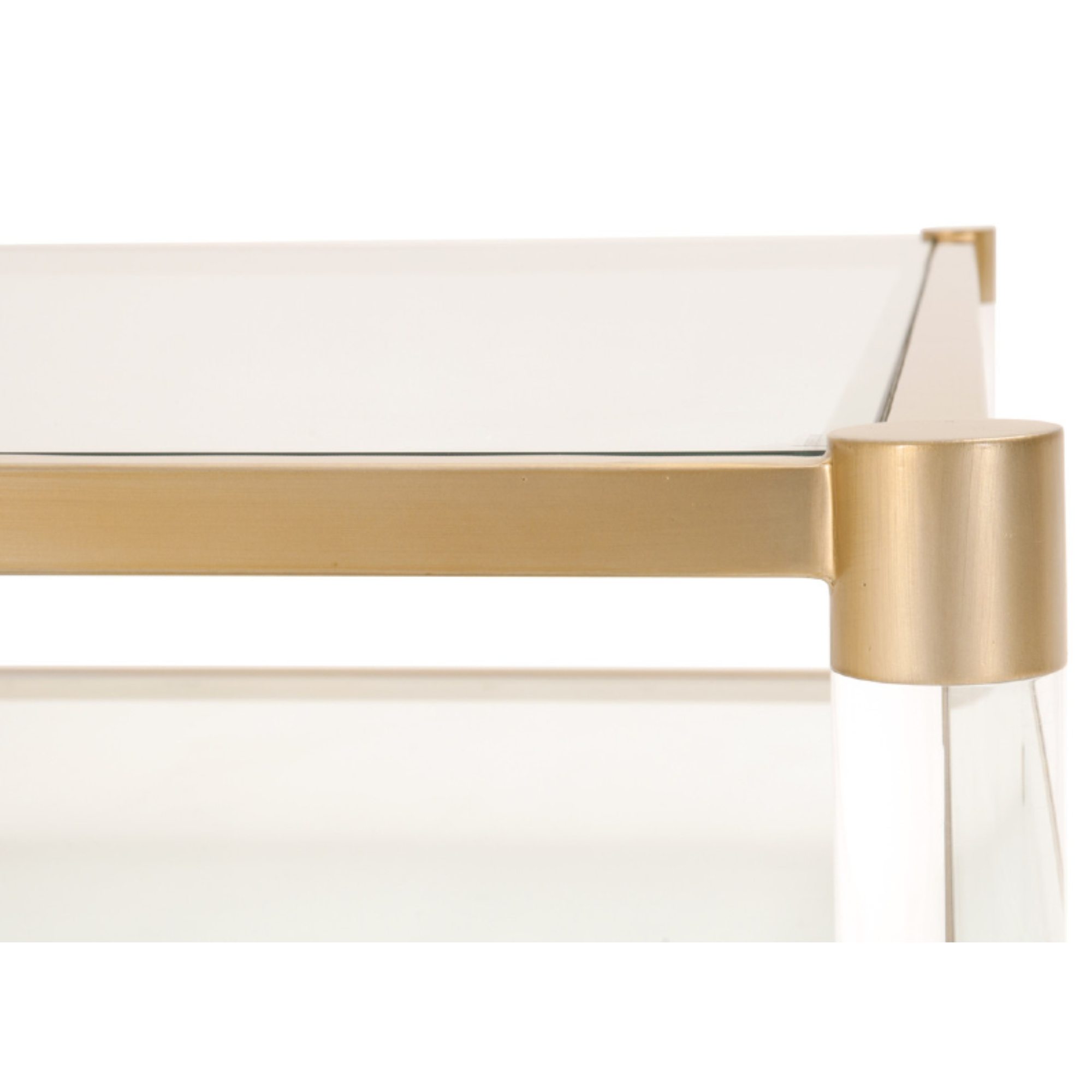 Rowan Modern Classic Glass Gold Metal Rectangular Coffee Table