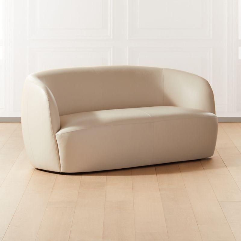 Gwyneth Ivory Leather Loveseat