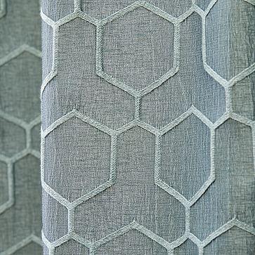 "Honeycomb Jacquard Curtain, Stormy Sea, 48""x84"""