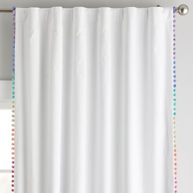 Rainbow Ombre Pom Pom Blackout Curtain Panel Panel, 96, Multi