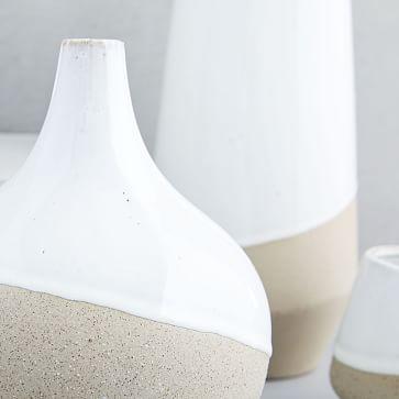 "Half-Dipped Stoneware Vase, Gray/White, Big Bulb, 9.5"""