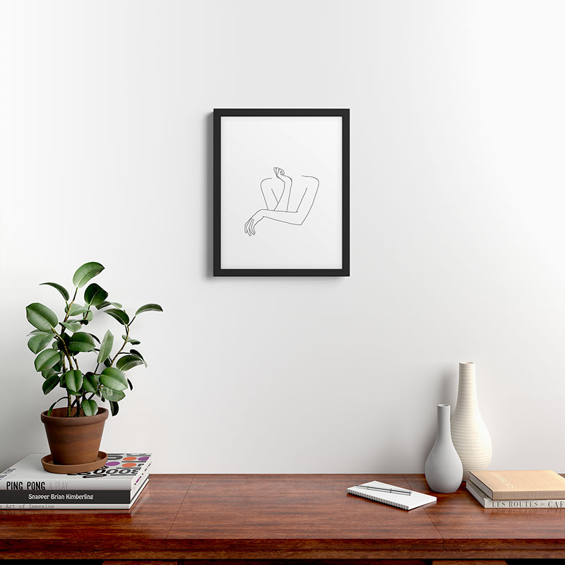 """Crossed Arms Illustration Anna by The Colour Study, Modern Framed Art Print, Black, 20"""" x 16"""""""