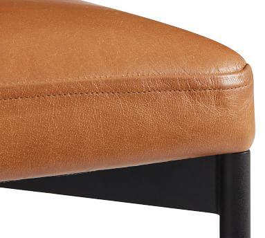 Maison Leather Counter Height Bar Stool, Bronze Leg, Statesville Caramel