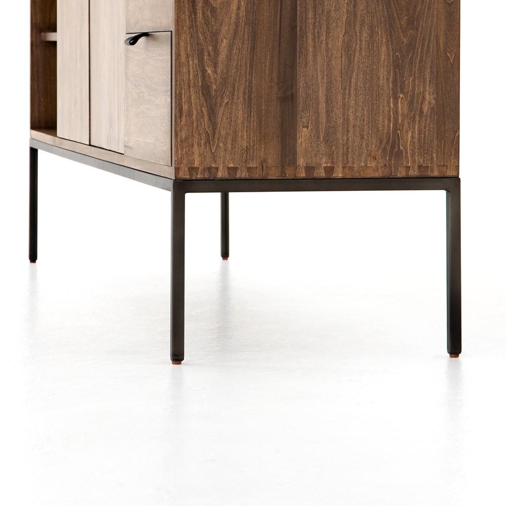 Theodore Industrial Loft Brown Wood Iron Media Cabinet