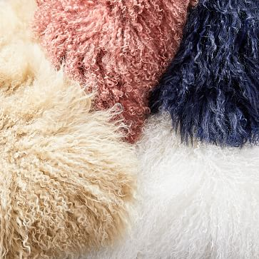 "Mongolian Lamb Pillow Cover, 12""x21"", White"